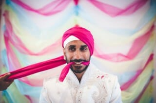 Portrait groom sikh wedding alternative quirky