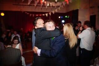 fun wedding hug