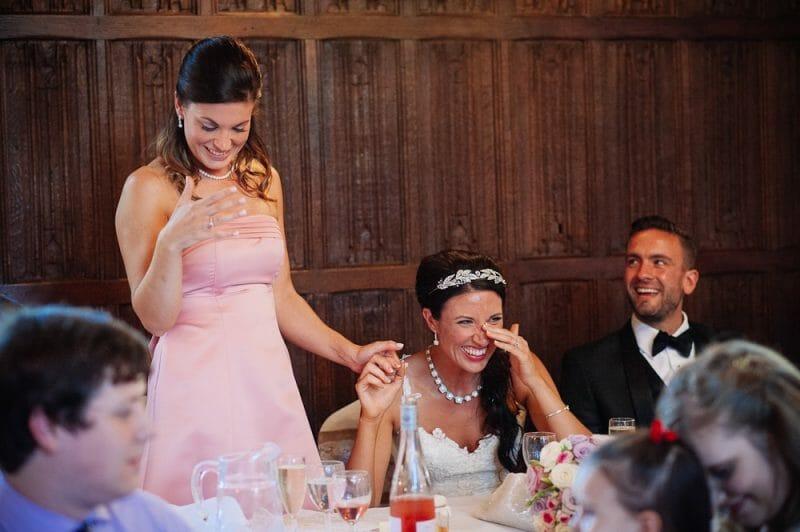 Emotional bride and bridesmaid