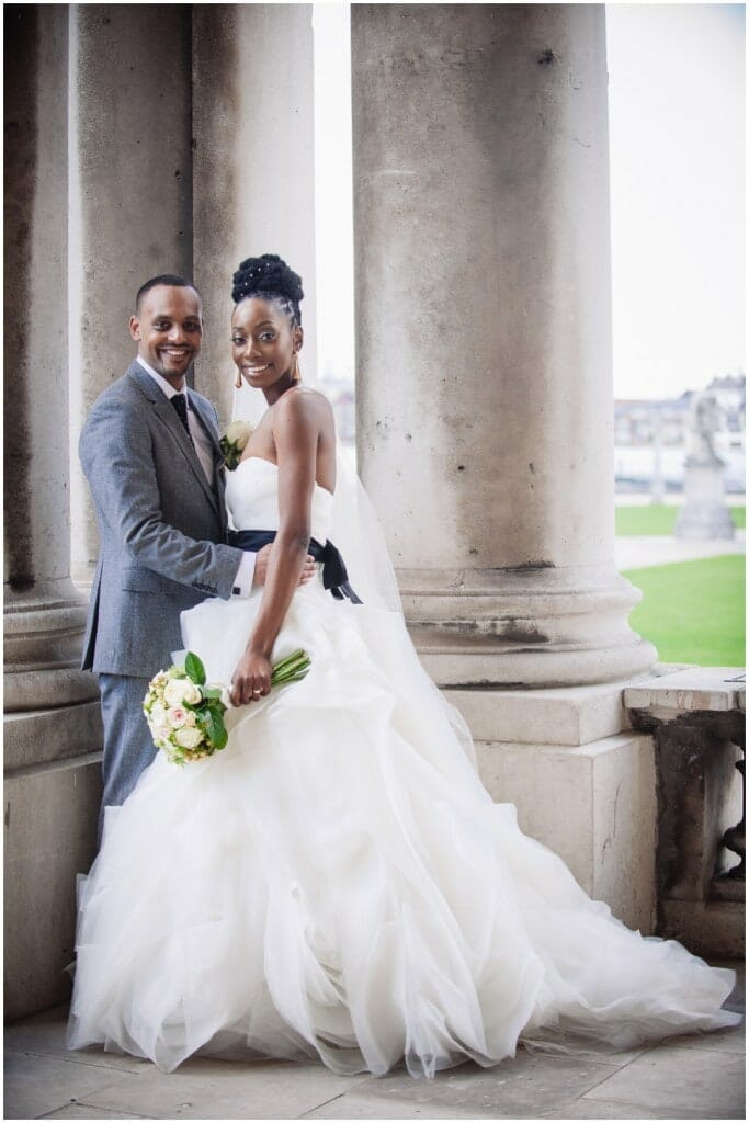 couple wedding portrait at the royal navy college