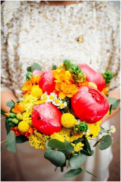 bright pink yellow wedding bouquet