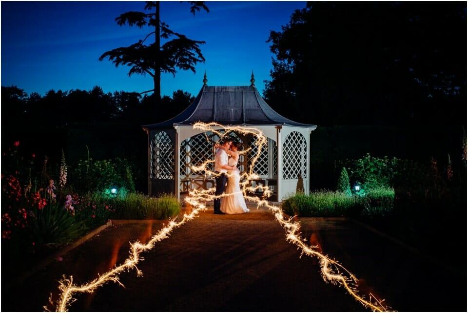 creative wedding sparkler couple photo
